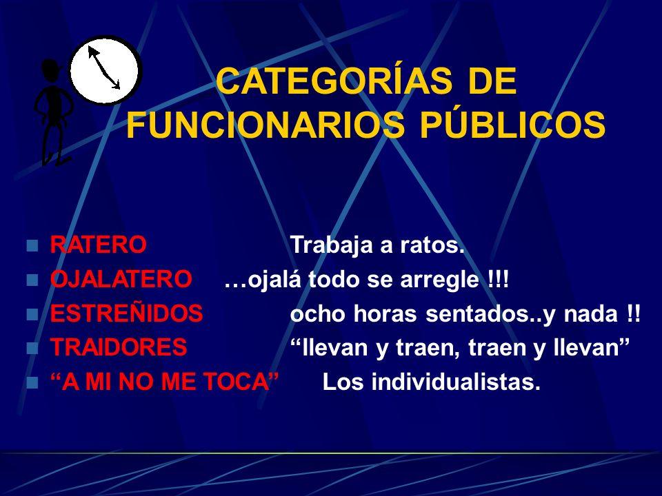 CATEGORÍAS DE FUNCIONARIOS PÚBLICOS