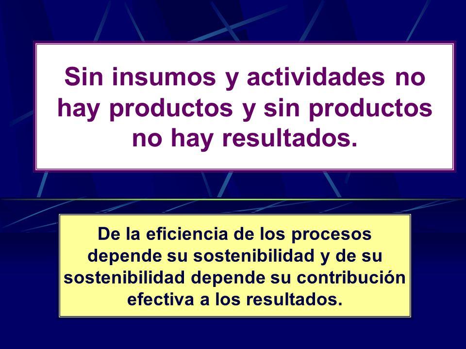 Sin insumos y actividades no hay productos y sin productos no hay resultados.
