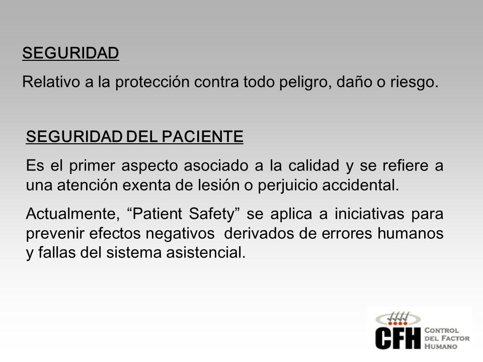 SEGURIDAD Relativo a la protección contra todo peligro, daño o riesgo. SEGURIDAD DEL PACIENTE.