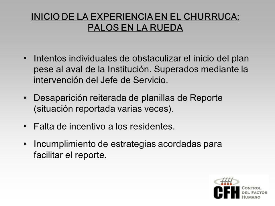 INICIO DE LA EXPERIENCIA EN EL CHURRUCA: PALOS EN LA RUEDA
