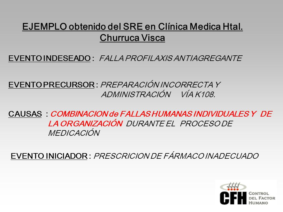 EJEMPLO obtenido del SRE en Clínica Medica Htal. Churruca Visca