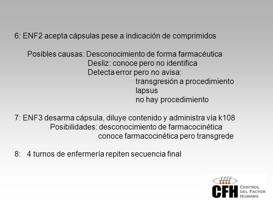 6: ENF2 acepta cápsulas pese a indicación de comprimidos
