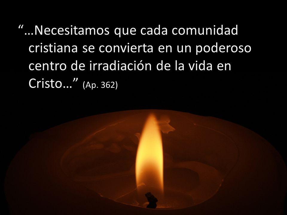 …Necesitamos que cada comunidad cristiana se convierta en un poderoso centro de irradiación de la vida en Cristo… (Ap.