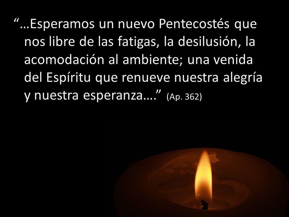 …Esperamos un nuevo Pentecostés que nos libre de las fatigas, la desilusión, la acomodación al ambiente; una venida del Espíritu que renueve nuestra alegría y nuestra esperanza…. (Ap.