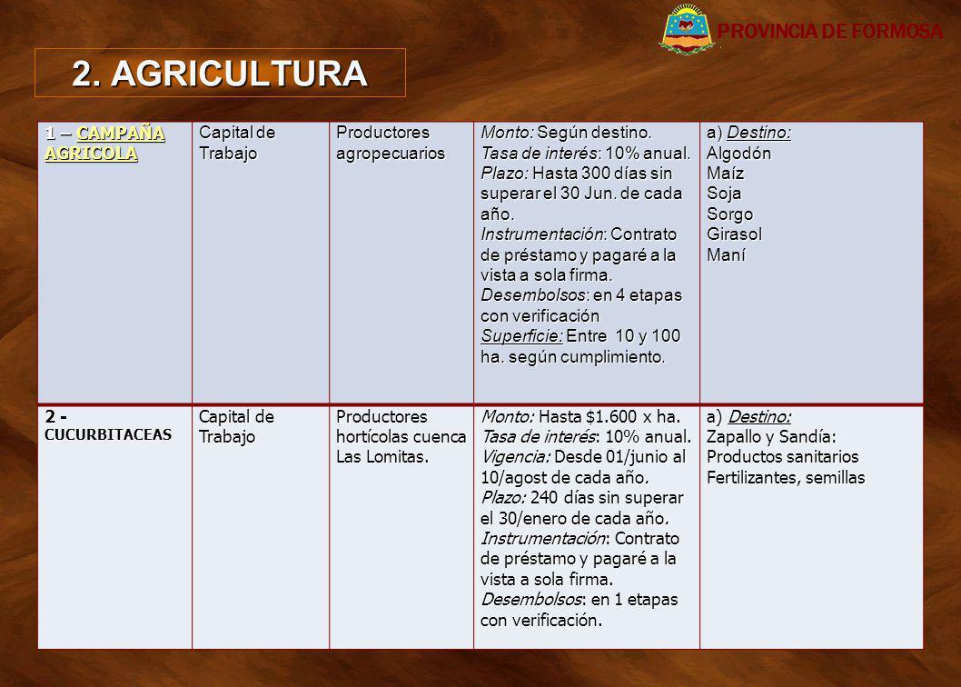 2. AGRICULTURA PROVINCIA DE FORMOSA 1 – CAMPAÑA AGRICOLA
