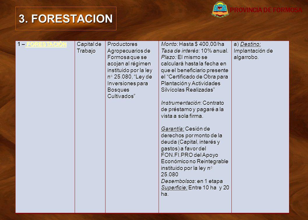3. FORESTACION PROVINCIA DE FORMOSA 1 – FORESTACIÓN Capital de Trabajo