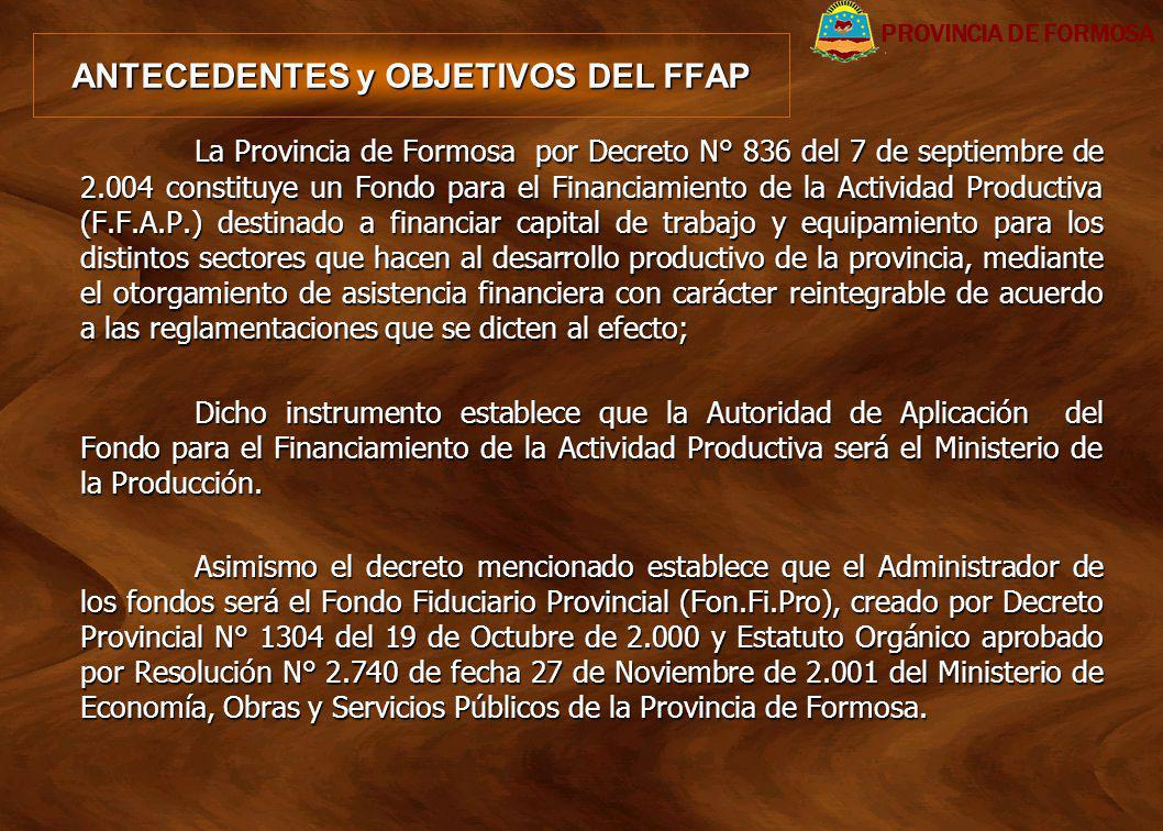 ANTECEDENTES y OBJETIVOS DEL FFAP