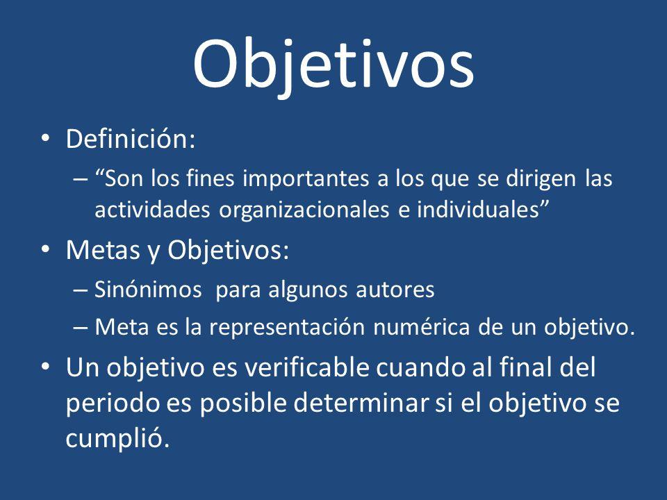 Objetivos Definición: Metas y Objetivos: