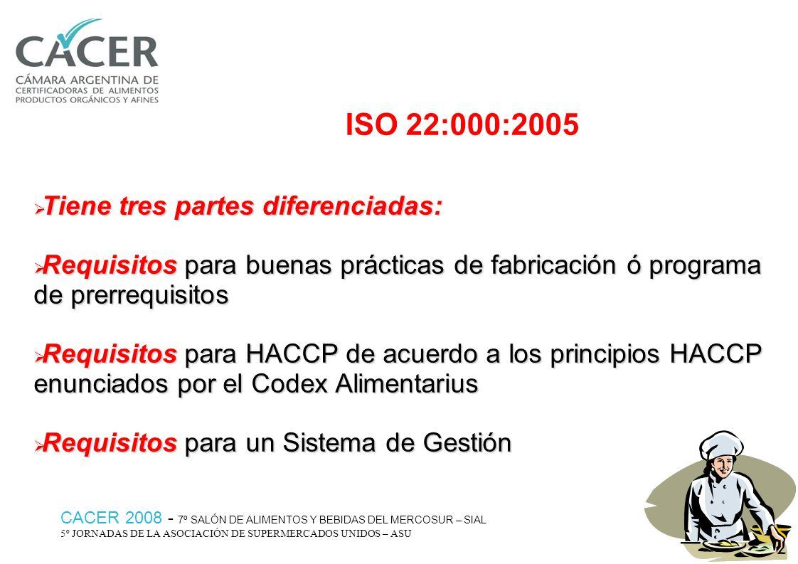 ISO 22:000:2005 Tiene tres partes diferenciadas: