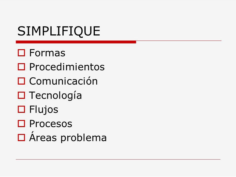 SIMPLIFIQUE Formas Procedimientos Comunicación Tecnología Flujos