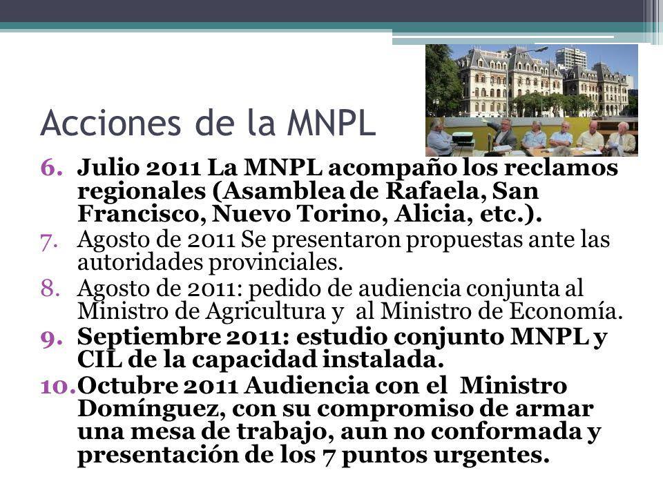 Acciones de la MNPL Julio 2011 La MNPL acompaño los reclamos regionales (Asamblea de Rafaela, San Francisco, Nuevo Torino, Alicia, etc.).
