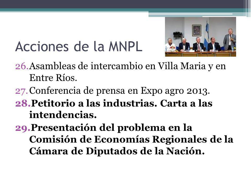 Acciones de la MNPL Asambleas de intercambio en Villa Maria y en Entre Ríos. Conferencia de prensa en Expo agro 2013.