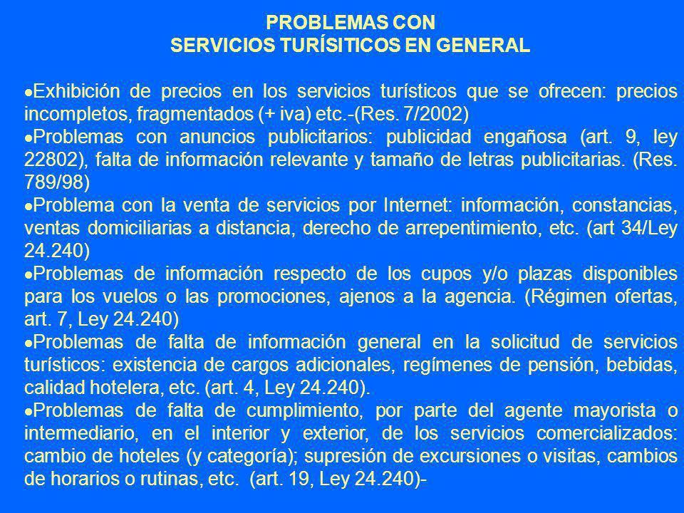 SERVICIOS TURÍSITICOS EN GENERAL