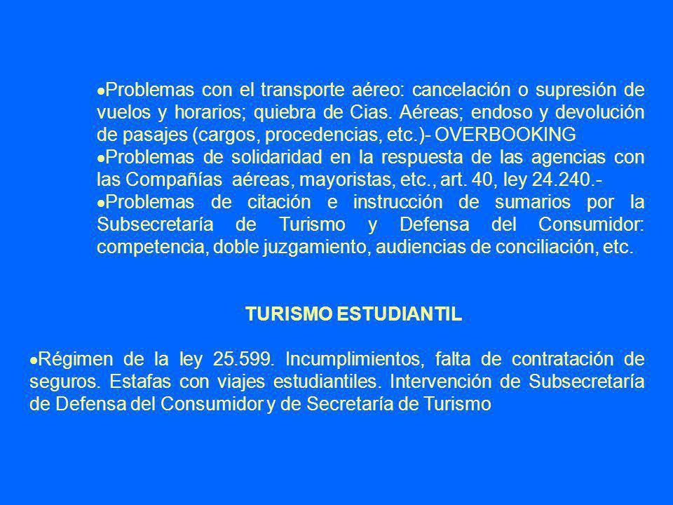 Problemas con el transporte aéreo: cancelación o supresión de vuelos y horarios; quiebra de Cias. Aéreas; endoso y devolución de pasajes (cargos, procedencias, etc.)- OVERBOOKING