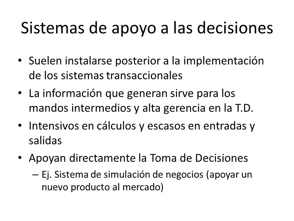Sistemas de apoyo a las decisiones