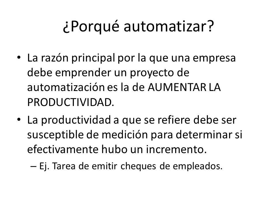 ¿Porqué automatizar La razón principal por la que una empresa debe emprender un proyecto de automatización es la de AUMENTAR LA PRODUCTIVIDAD.