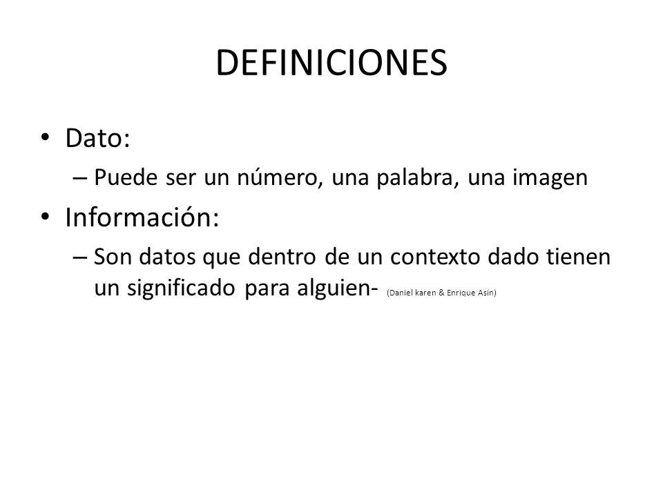 DEFINICIONES Dato: Información: