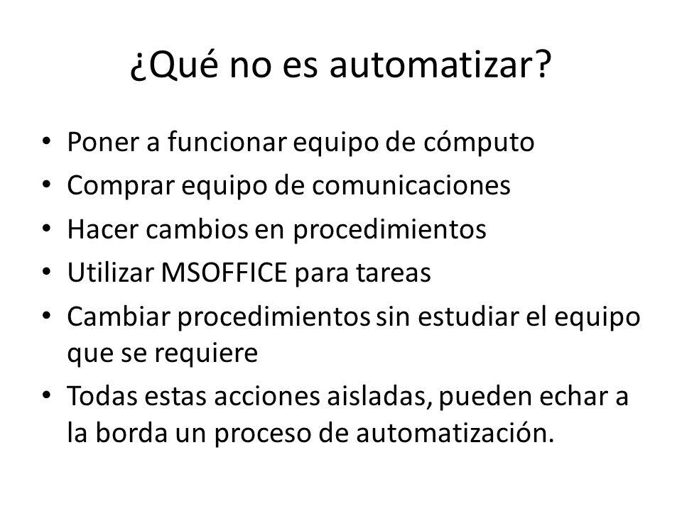 ¿Qué no es automatizar Poner a funcionar equipo de cómputo
