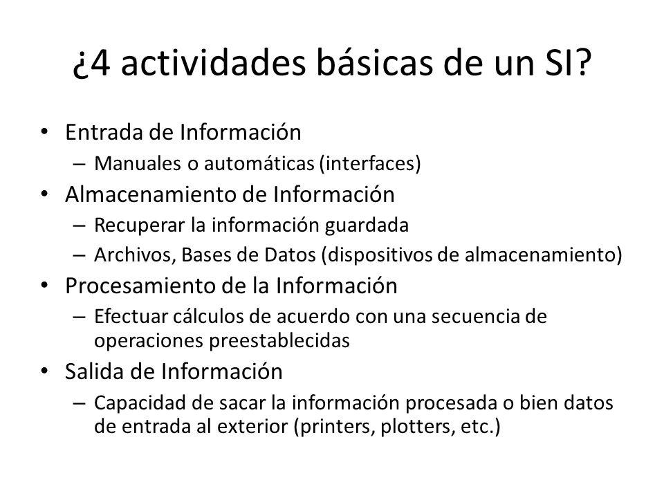 ¿4 actividades básicas de un SI
