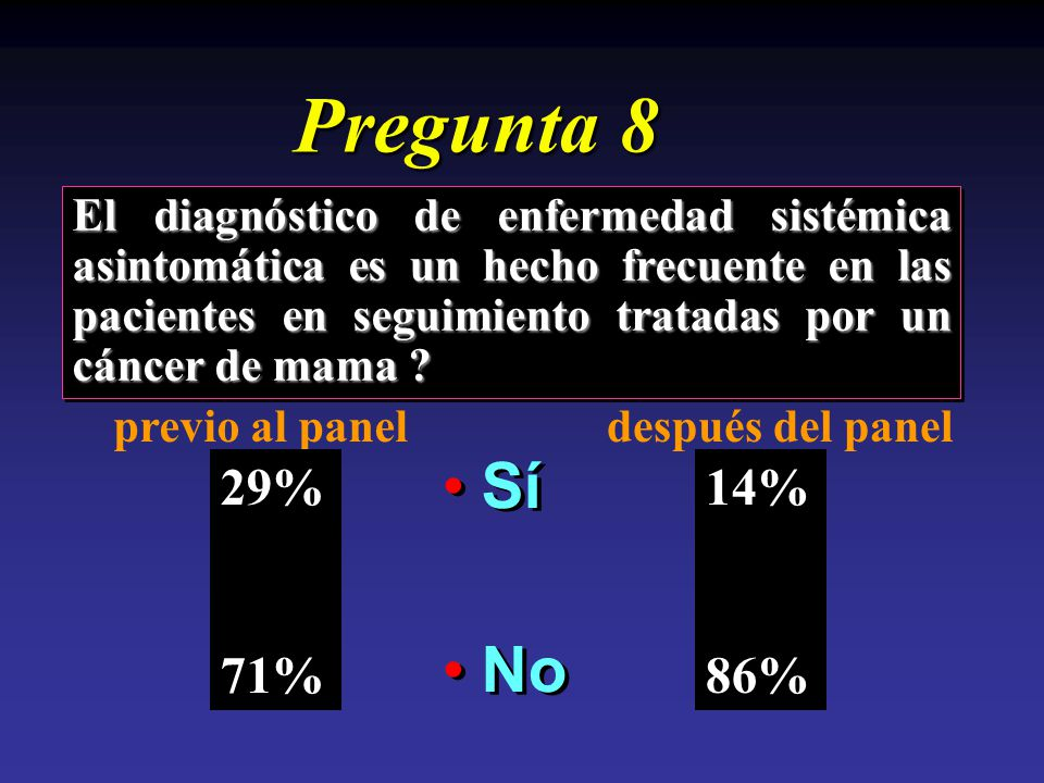 Pregunta 8 El diagnóstico de enfermedad sistémica asintomática es un hecho frecuente en las pacientes en seguimiento tratadas por un cáncer de mama