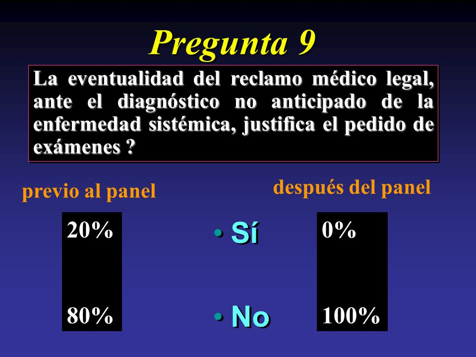 Pregunta 9 La eventualidad del reclamo médico legal, ante el diagnóstico no anticipado de la enfermedad sistémica, justifica el pedido de exámenes