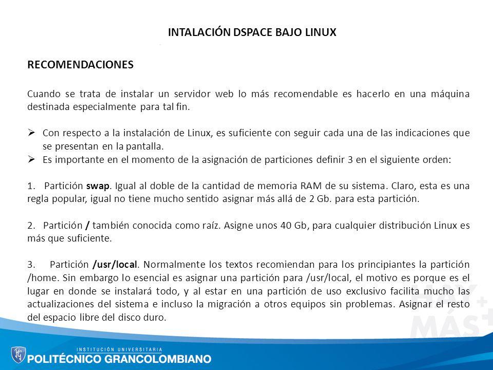INTALACIÓN DSPACE BAJO LINUX