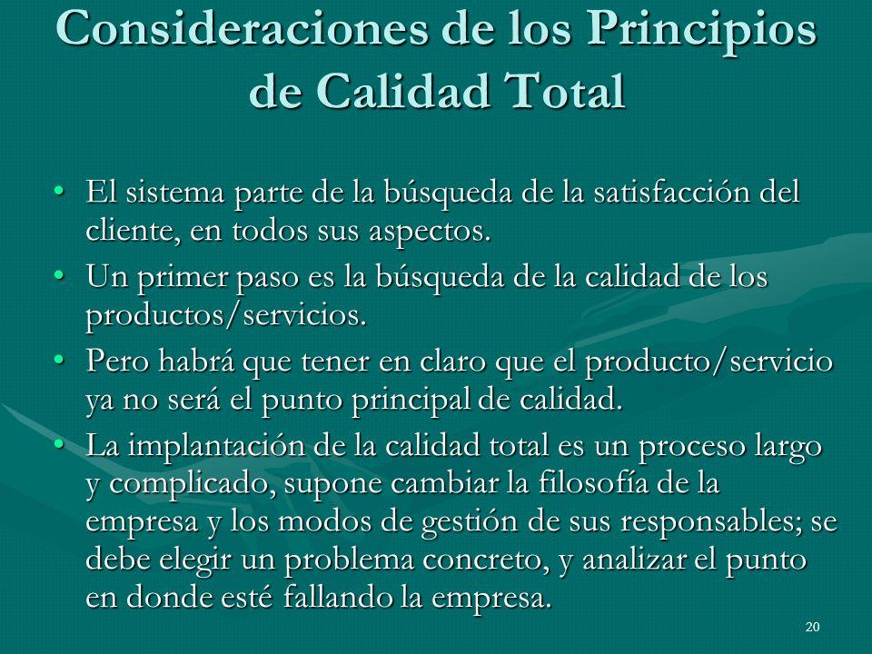 Consideraciones de los Principios de Calidad Total