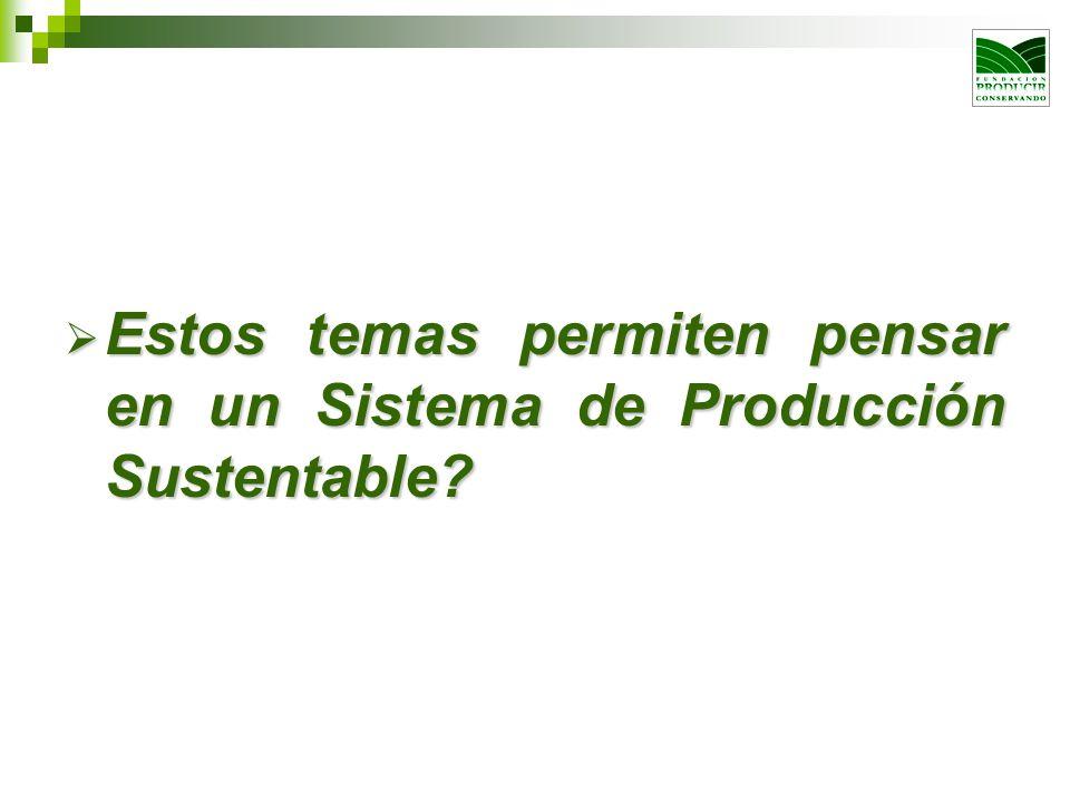 Estos temas permiten pensar en un Sistema de Producción Sustentable