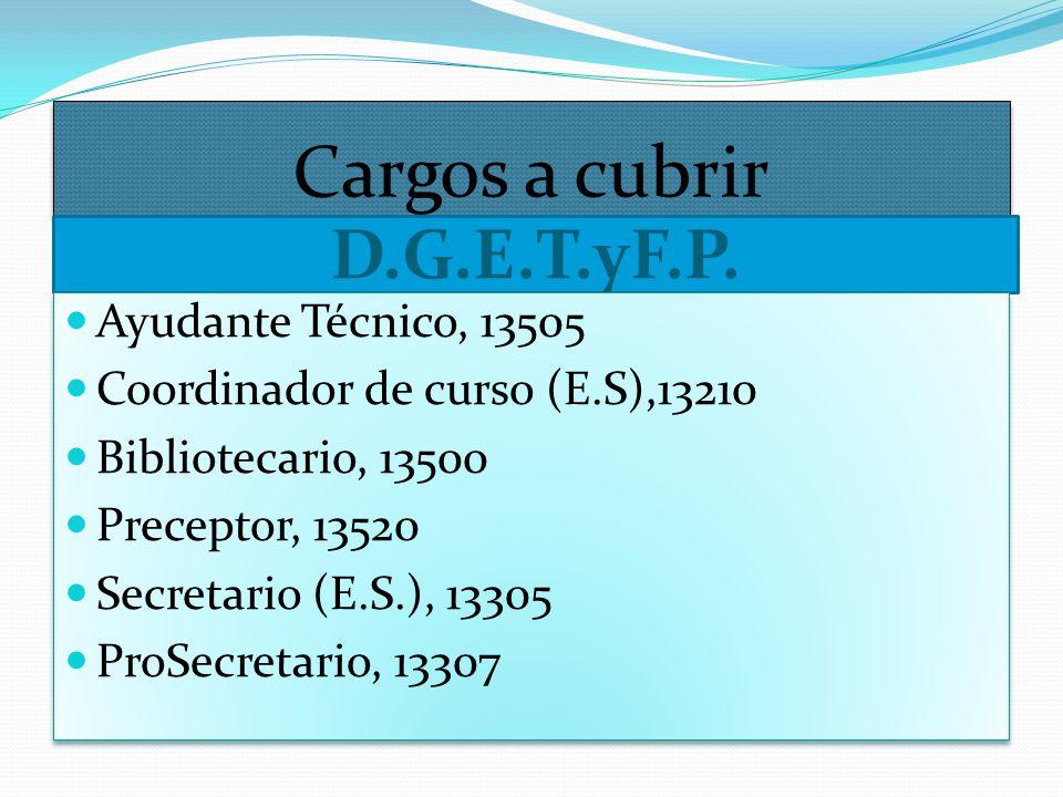 Cargos a cubrir D.G.E.T.yF.P. Ayudante Técnico, 13505