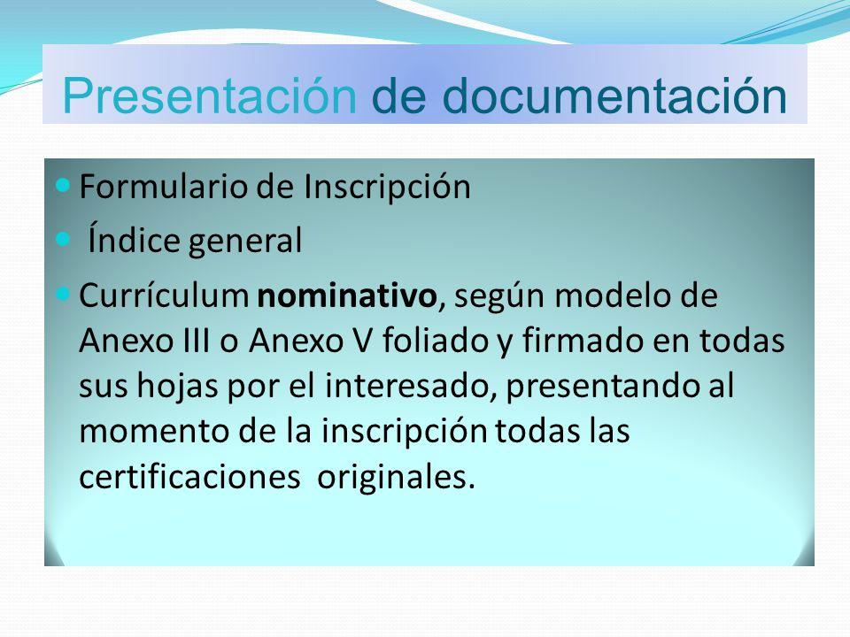 Presentación de documentación