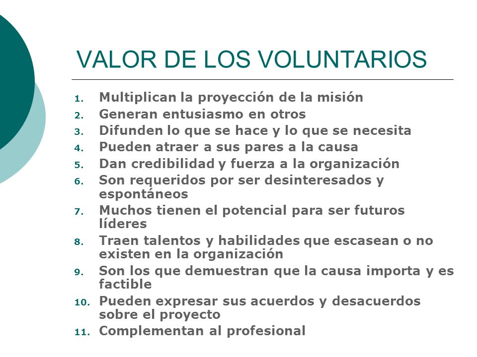 VALOR DE LOS VOLUNTARIOS