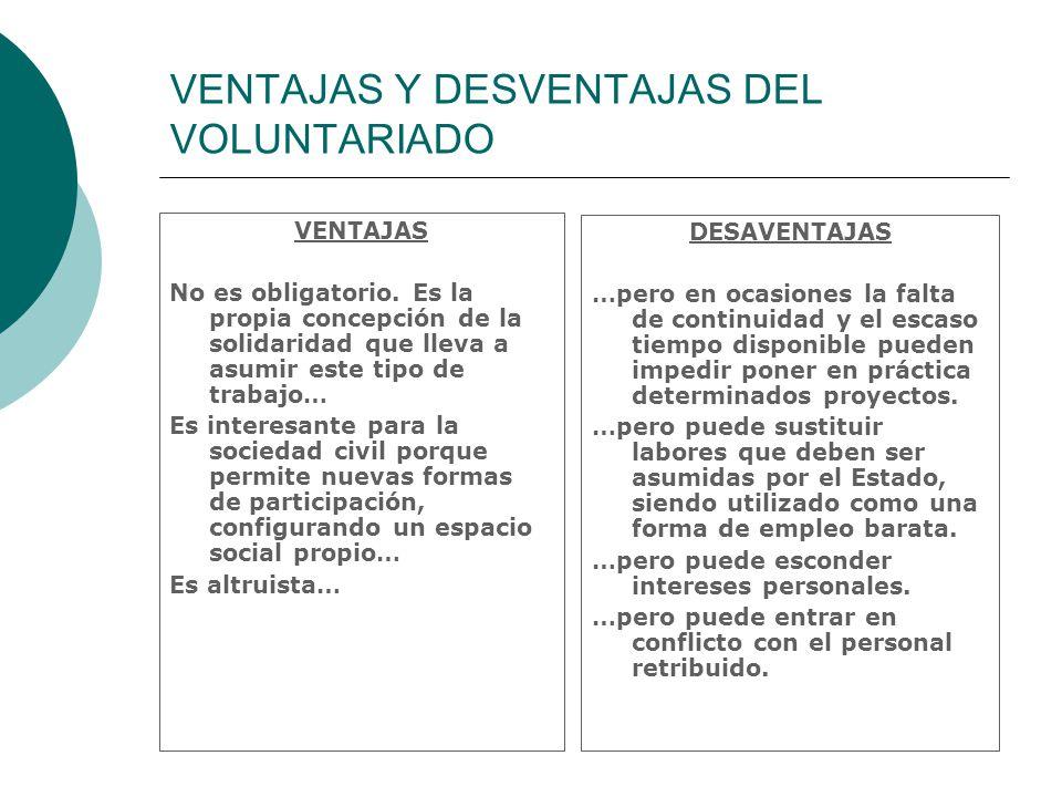 VENTAJAS Y DESVENTAJAS DEL VOLUNTARIADO