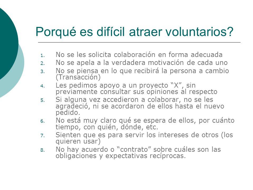 Porqué es difícil atraer voluntarios