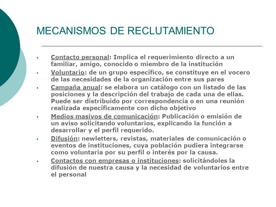 MECANISMOS DE RECLUTAMIENTO