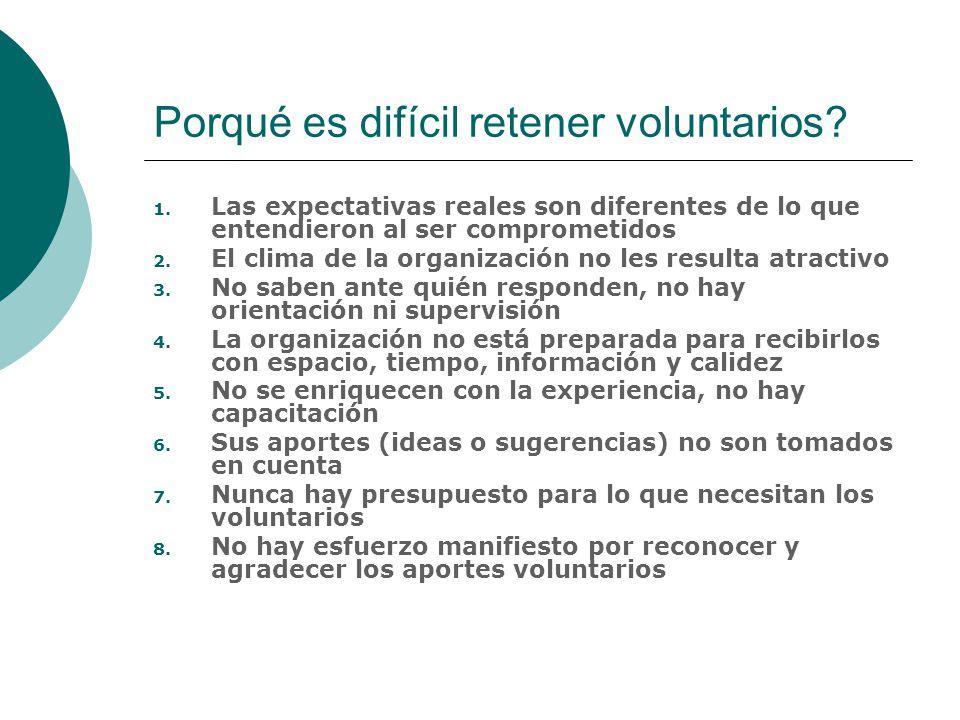 Porqué es difícil retener voluntarios