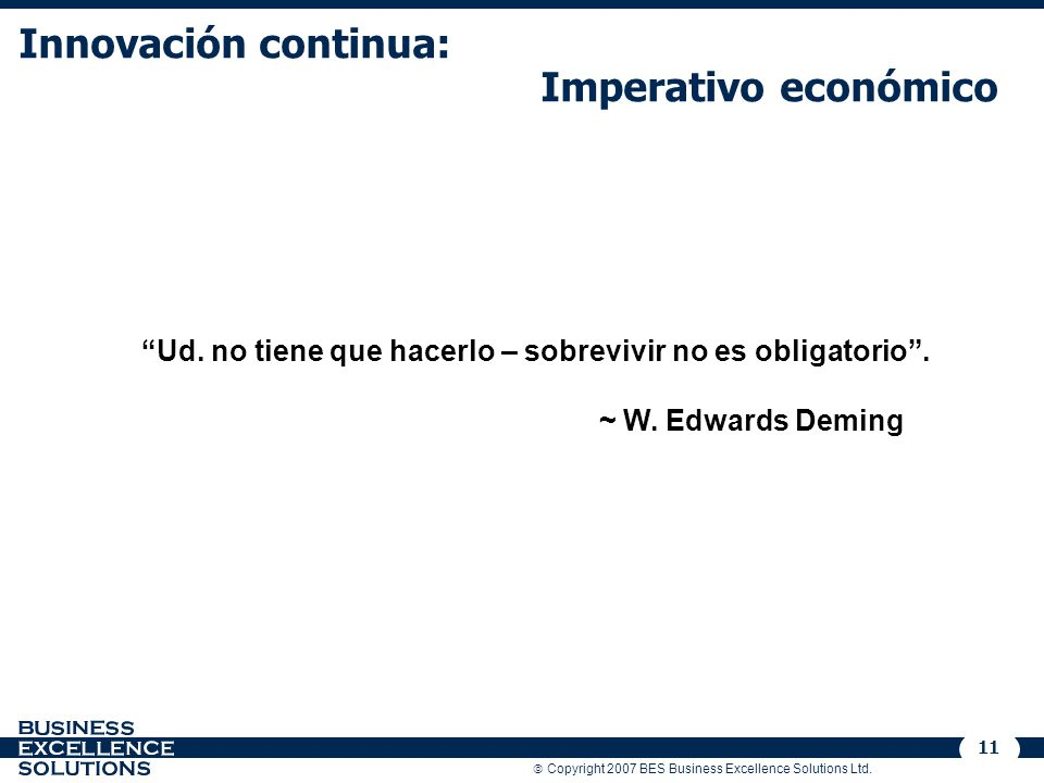 Innovación continua: Imperativo económico