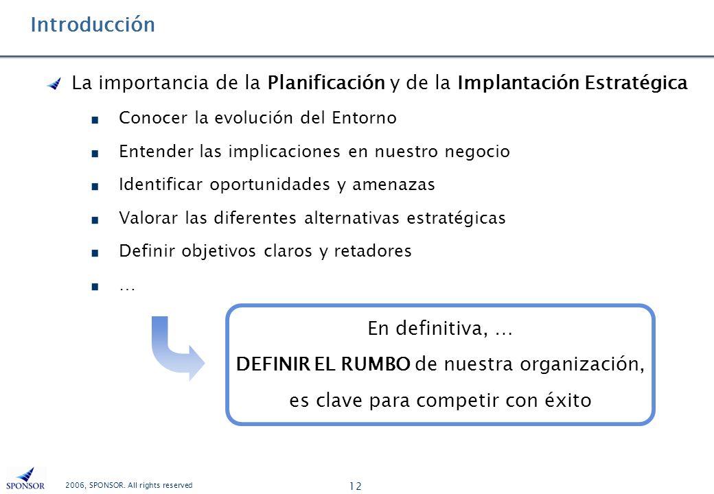 Introducción La importancia de la Planificación y de la Implantación Estratégica. Conocer la evolución del Entorno.