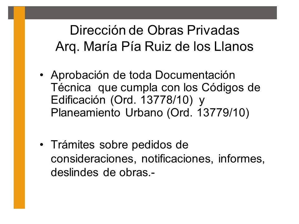 Dirección de Obras Privadas Arq. María Pía Ruiz de los Llanos