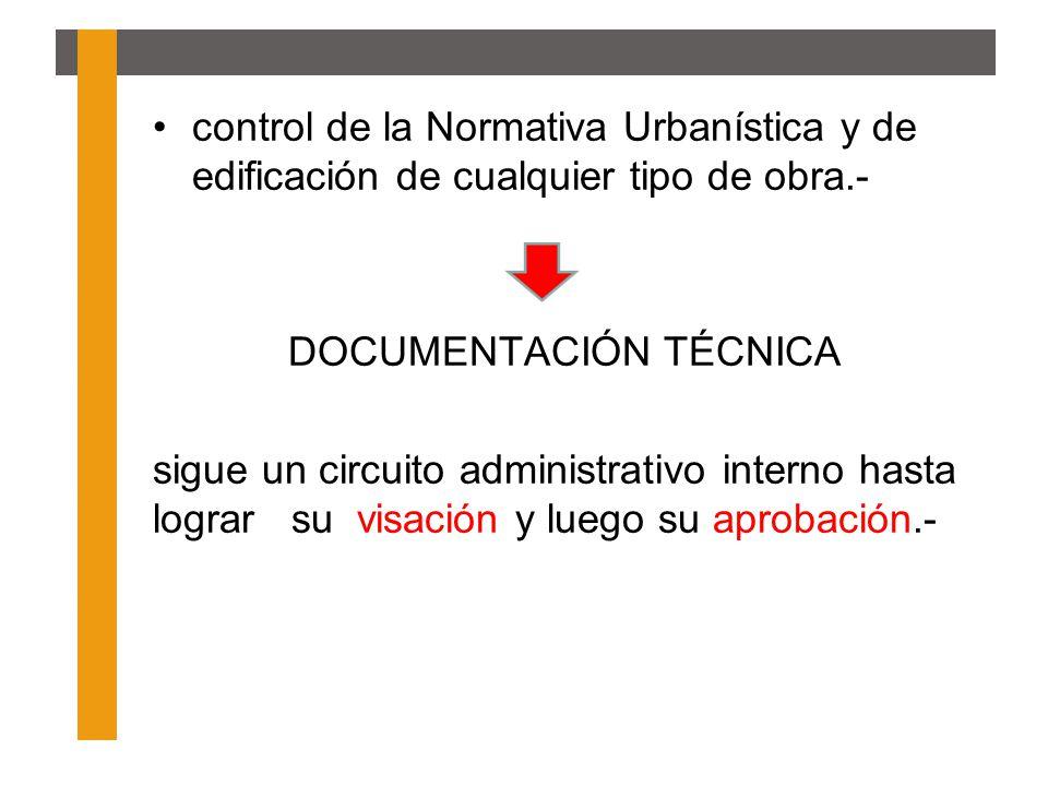 control de la Normativa Urbanística y de edificación de cualquier tipo de obra.-