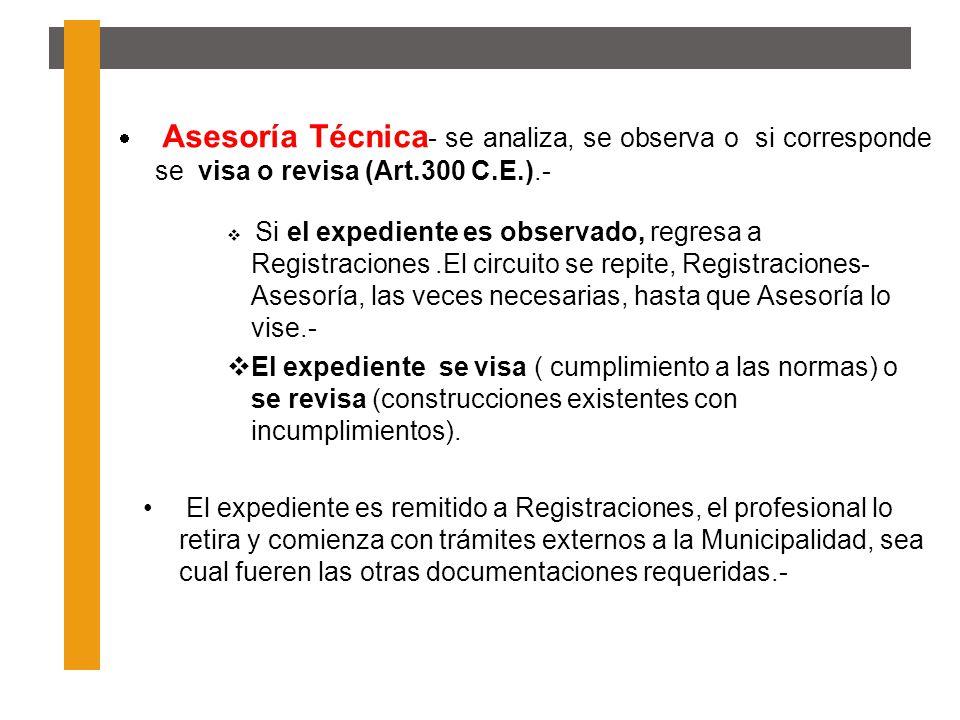 Asesoría Técnica- se analiza, se observa o si corresponde se visa o revisa (Art.300 C.E.).-