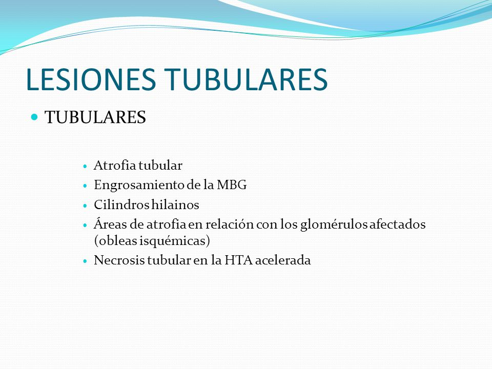 LESIONES TUBULARES TUBULARES Atrofia tubular Engrosamiento de la MBG
