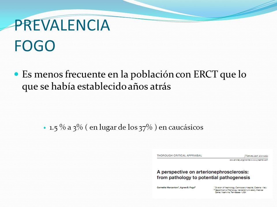 PREVALENCIA FOGO Es menos frecuente en la población con ERCT que lo que se había establecido años atrás.
