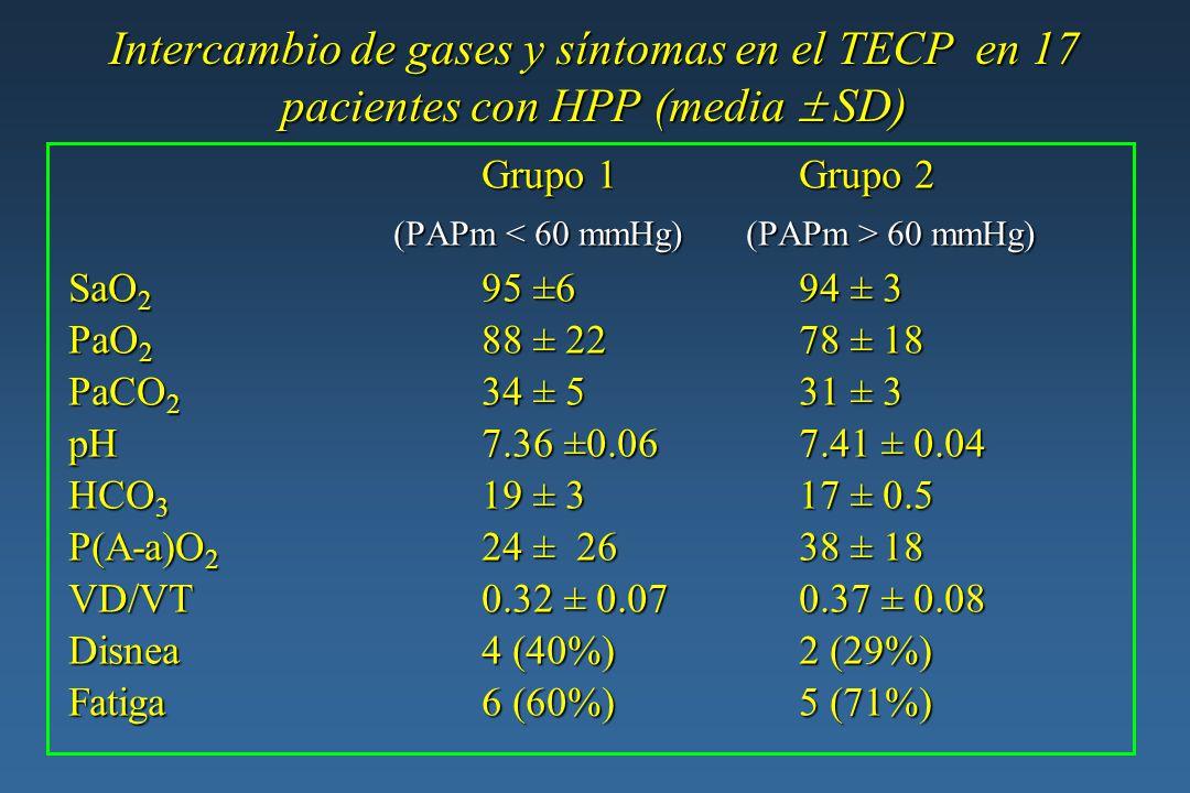Intercambio de gases y síntomas en el TECP en 17 pacientes con HPP (media SD)