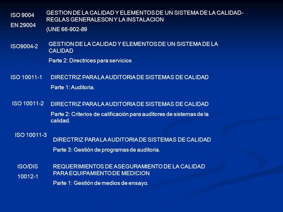 GESTION DE LA CALIDAD Y ELEMENTOS DE UN SISTEMA DE LA CALIDAD-REGLAS GENERALESON Y LA INSTALACION