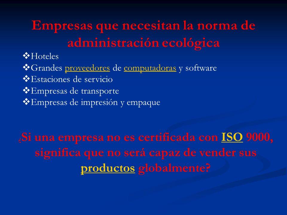 Empresas que necesitan la norma de administración ecológica