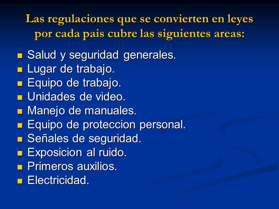 Las regulaciones que se convierten en leyes por cada pais cubre las siguientes areas: