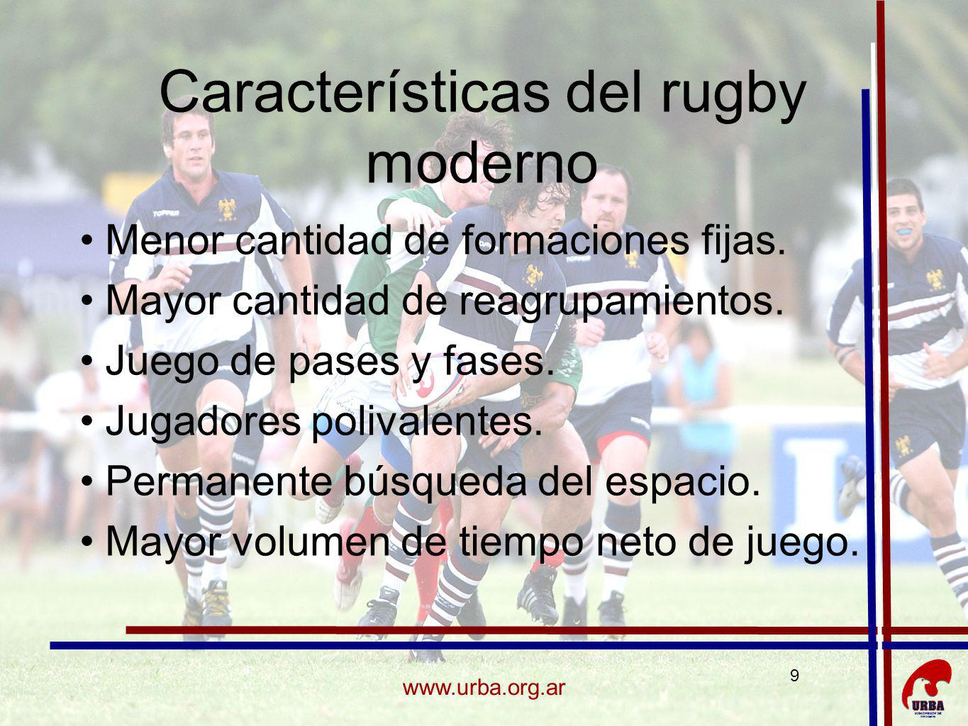 Características del rugby moderno