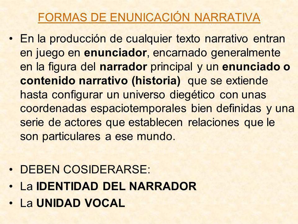FORMAS DE ENUNICACIÓN NARRATIVA