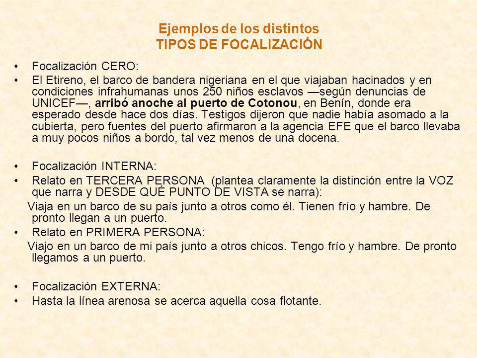 Ejemplos de los distintos TIPOS DE FOCALIZACIÓN