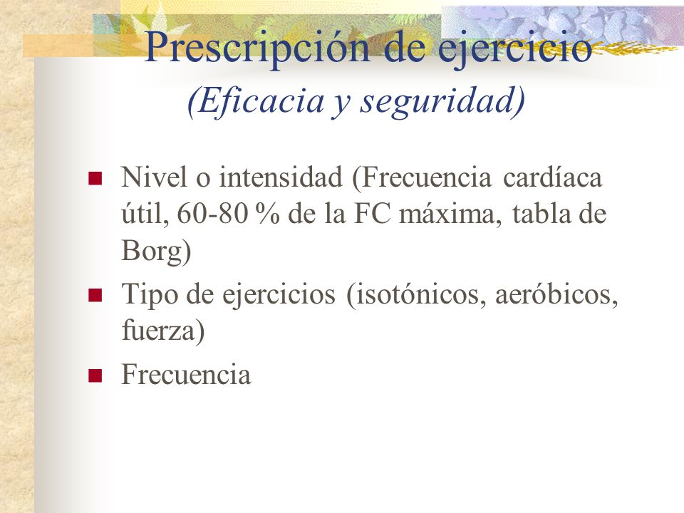 Prescripción de ejercicio (Eficacia y seguridad)